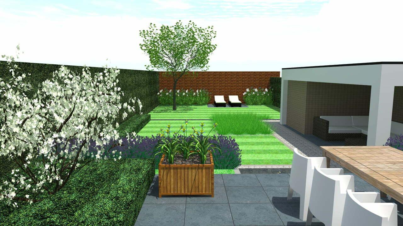 3D rendering ontwerp tuin